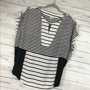 Anthro One September Shirt Black White Stripe XS